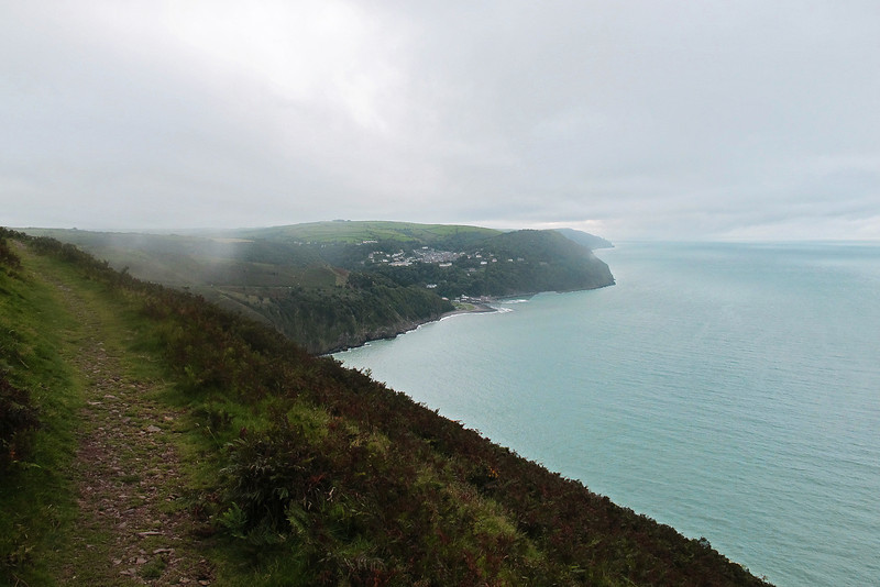 Lynton on the hill and Lynmouth below, up ahead.