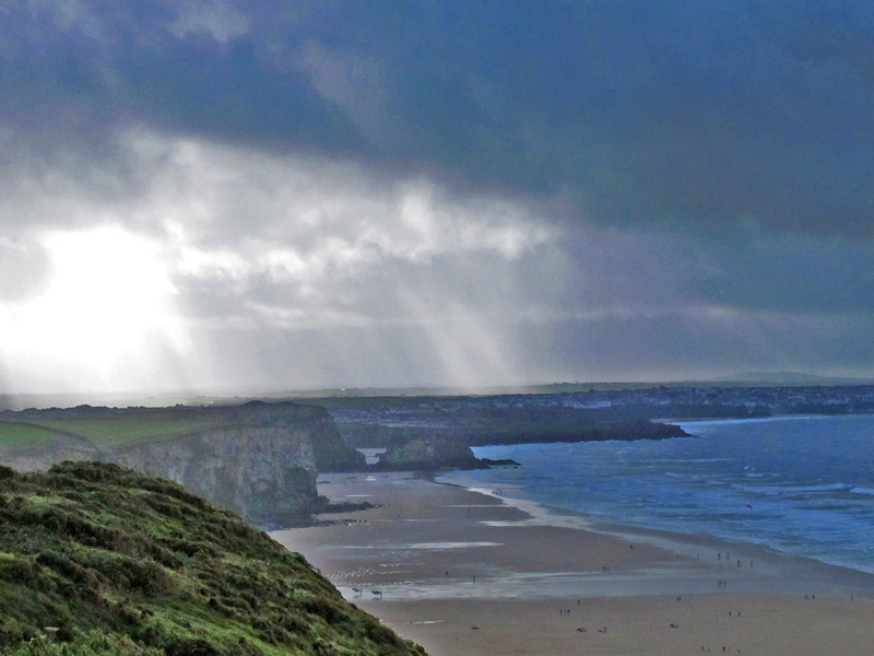 Further down Watergate Bay and Newquay is visible - the squall is about to dump heavy rain on everyone.