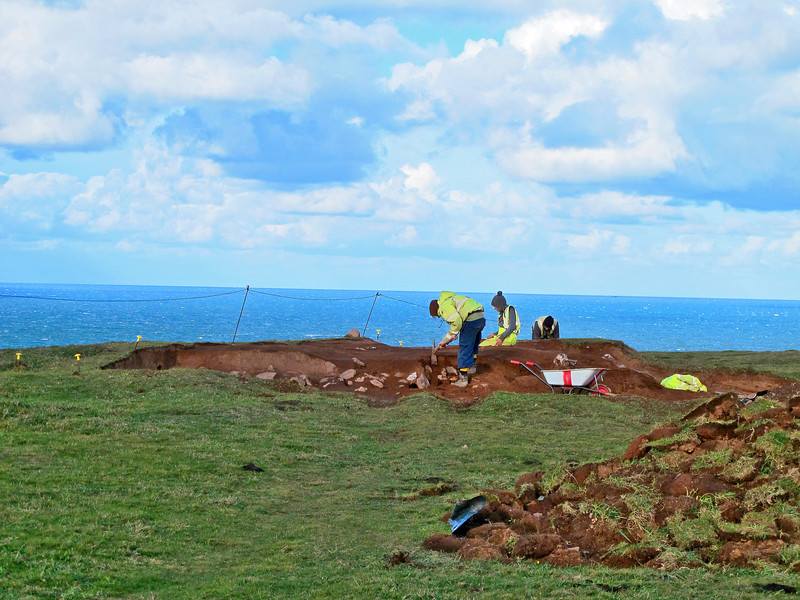 Archaeologists at Park Head excavating burial mounds before they disappear over the cliffs due to erosion.   It is thought that when they were built in the late Bronze and early Iron ages the sea was many miles away.