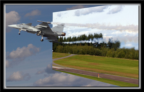Just some mucking around in photoshop with a Gripen take-off pic.