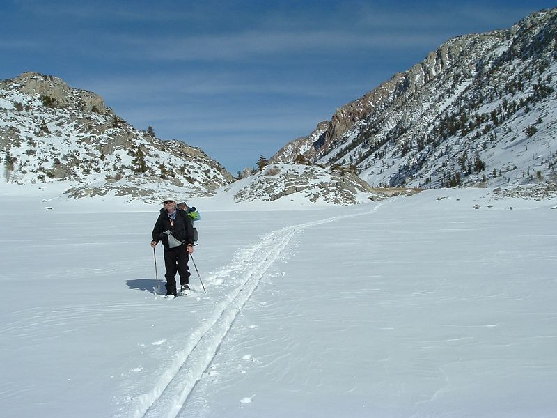 Jim crossing the lake towards the first camp site