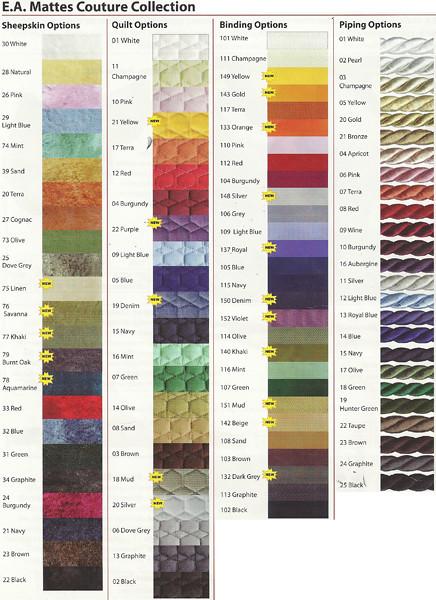 Mattes Couture Color Chart