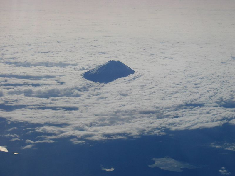 mt. fuji and surrounding lakes from the plane on the way to vietnam