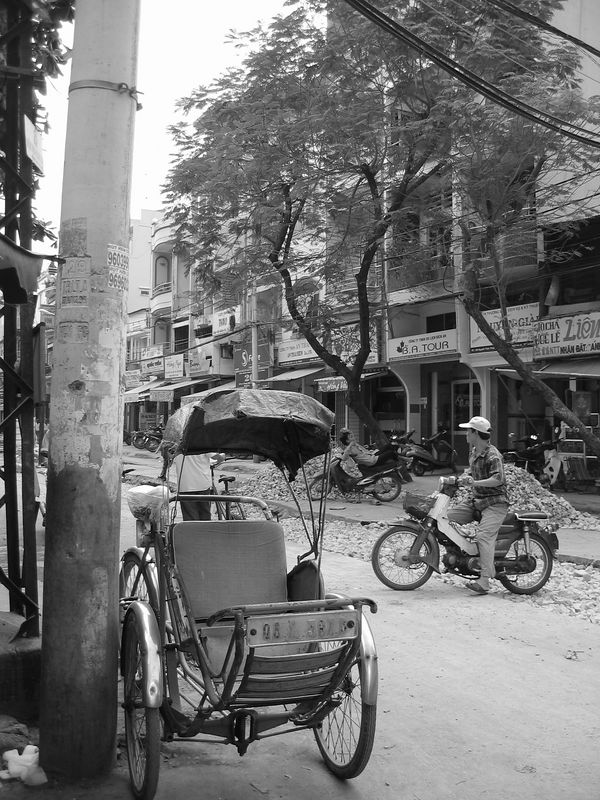 cyclo parked on the corner