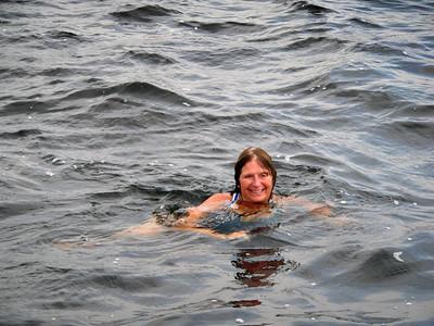 Karen takes a dip in Lk. Mich.