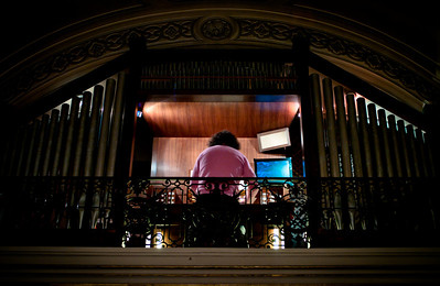 Organ player in church of Monaco