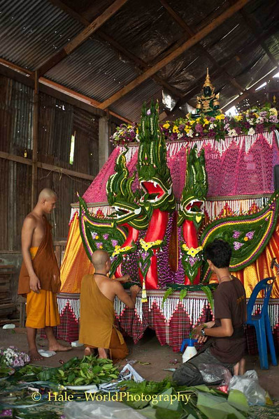 Monks Decorating Truck That will Pull Wax Castle Float