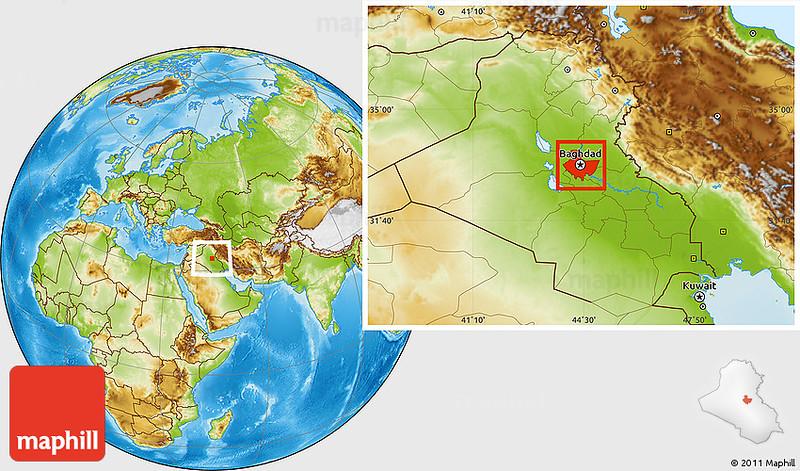 "Physical location map of Baghdad.<br /> <br /> <br /> <a href=""http://www.maphill.com/iraq/baghdad/location-maps/physical-map/"">http://www.maphill.com/iraq/baghdad/location-maps/physical-map/</a>"