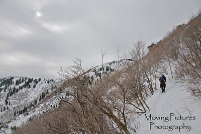 Up toward Grandeur Peak - hey, its a long hike thru the snow