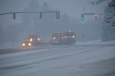 "Snowplows on Foothill Drive - clearing off the 12"" of overnight snow"