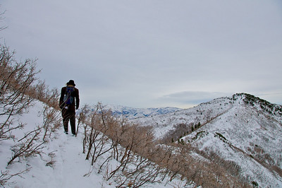 Up toward Grandeur Peak - hey, its still a long hike thru the snow