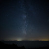 Perseid meteor and Milky Way above Cape Cod Bay August evening
