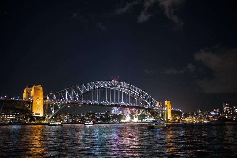 dark night Sydney Harbor Bridge