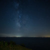 Milky Way Cape Cod Bay with small shooting star at right edge