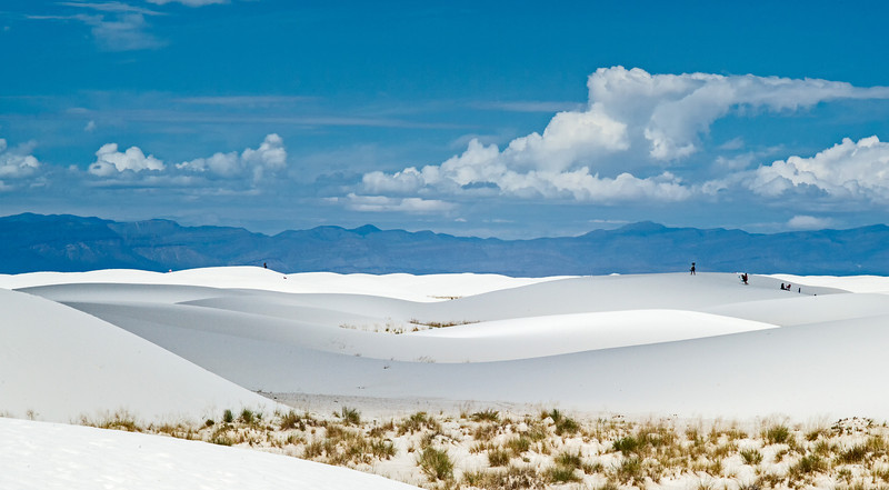 tobogganers on White Sands dunes