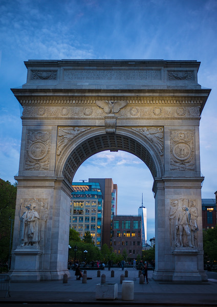Washington Square Arch at twilight I