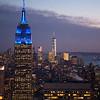 blue Empire State Bldg & Freedom Tower from Rockefeller Center