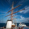 blue Aegean with Sea Cloud masts and spars