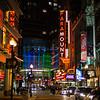 Washington Street at night w Paramount Theater