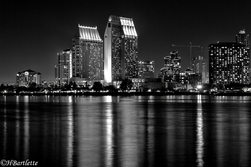 San Diego skyline in B&W