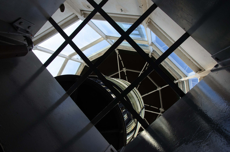 This shot is taken from the stairwell looking up into the very top of the lighthouse. As you can see, it is blocked from public access.