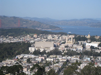 View to the north with the Golden Gate Bridge and St. Ignatius Church