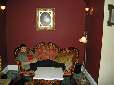 Christina relaxing at the Queen Anne hotel in San Francisco during our Victorian home walk tour.