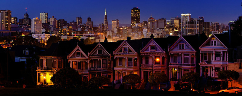 Six Sisters, Alamo Square, at Night