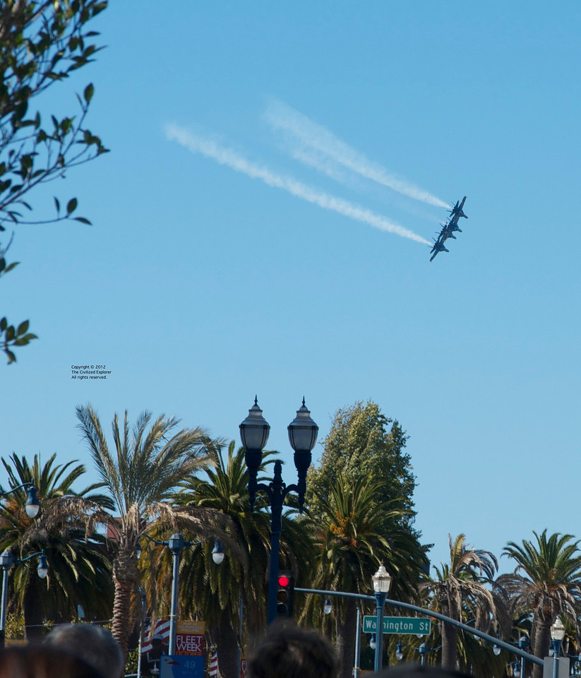The Blue Angels in tight formation at Fleet Week.