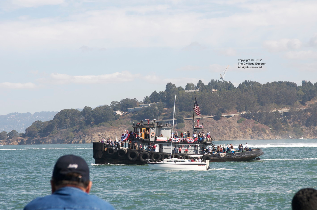 Even the tugs were packed with people paying to be out on the Bay to see Fleet Week.