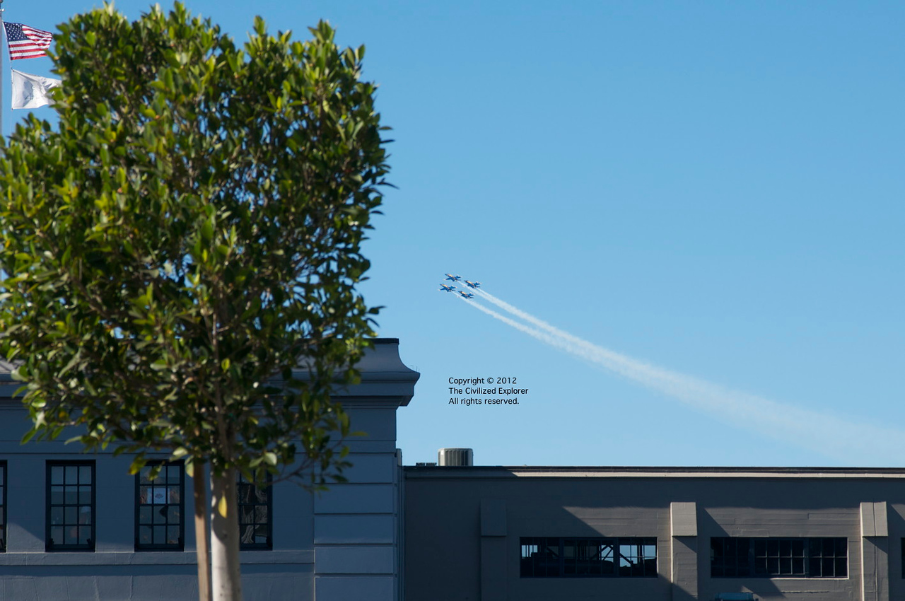 The Blue Angels fly over San Francisco during Fleet Week.