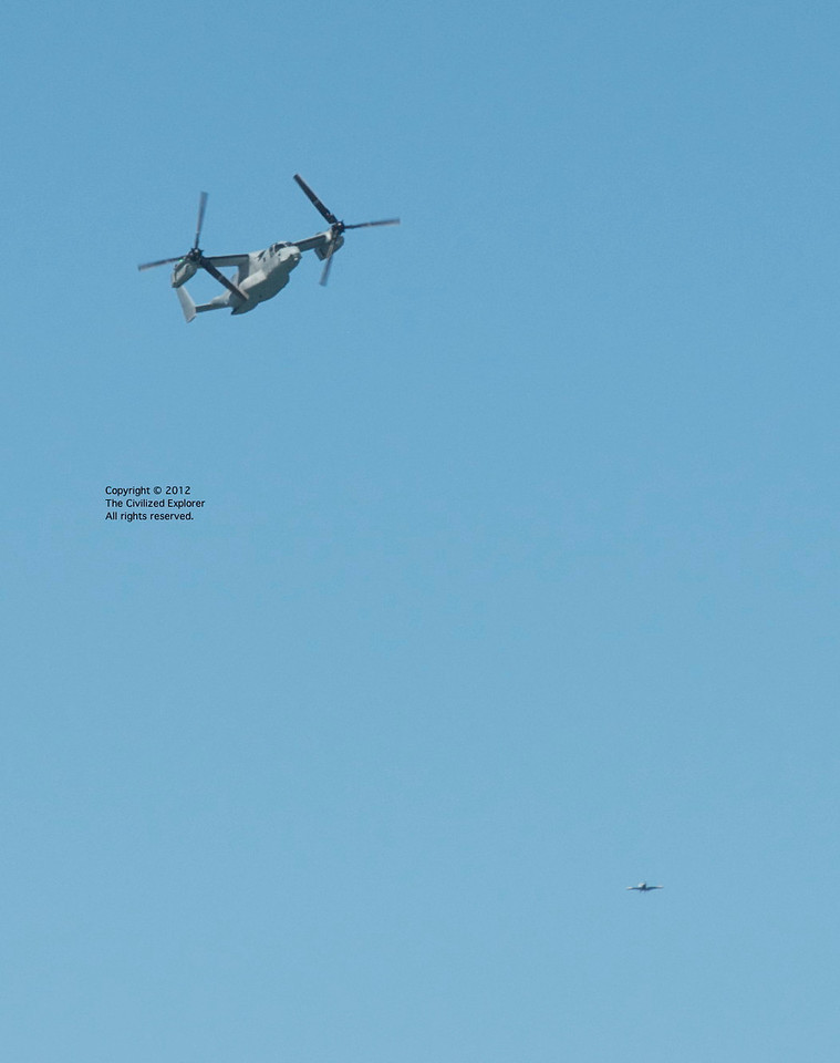 They flew an V-22 Osprey over the San Francisco Bay as part of Fleet Week. The aircraft is used both by the Marines and the US Air Force.