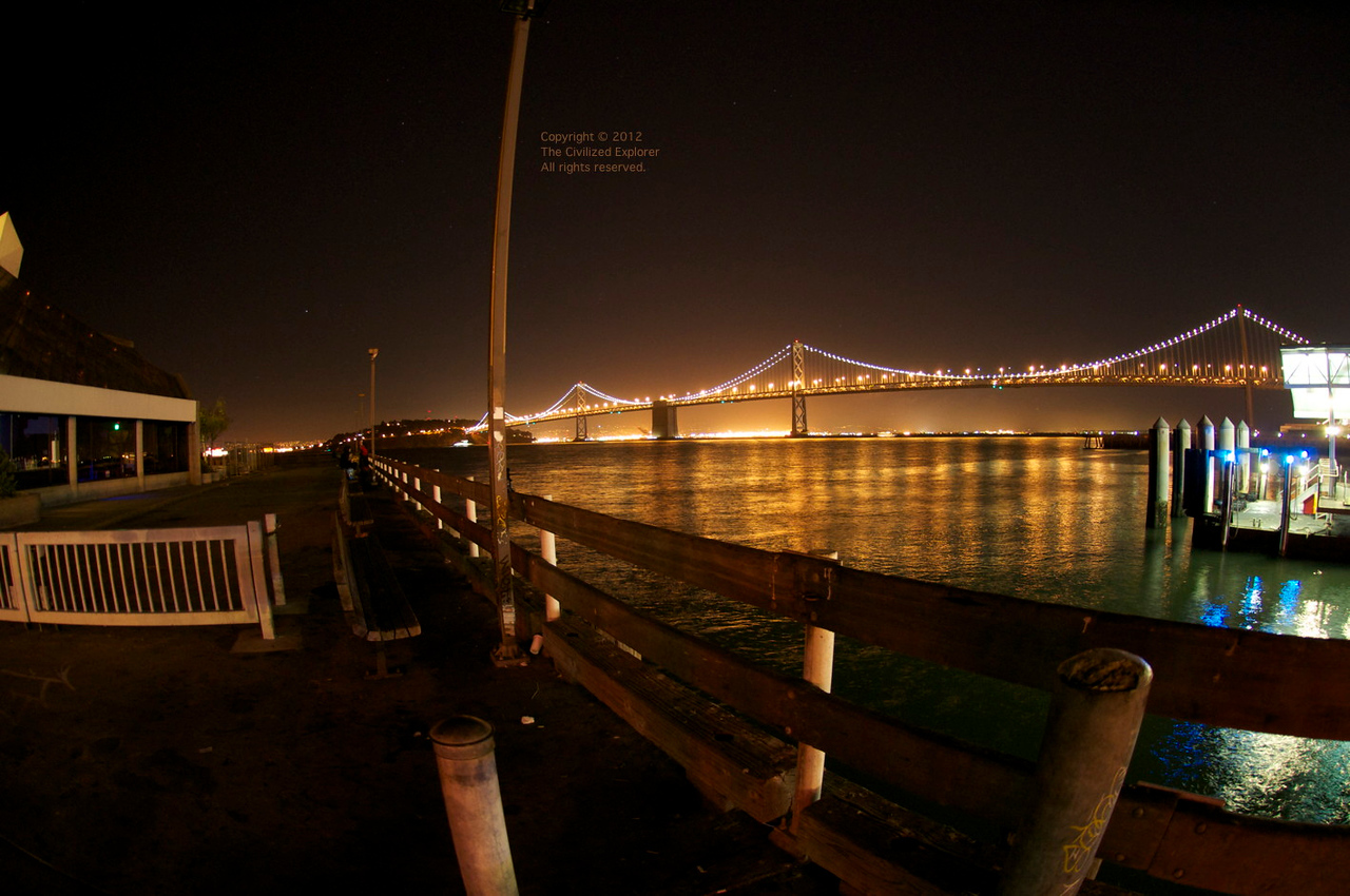The Bay Bridge at night.