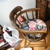 This Captain's chair dates from the late 1800's and belonged to my great great grandfather Edwards.   Likewise, it will find a home (after repairs) at the cottage.