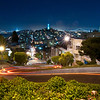Looking toward Coit Tower and down Lombard rather than up. I made the original raw shot much cooler by sliding the temperture slider to the left. I learned on this shoot that long exposures render lights as starlights. Cool!