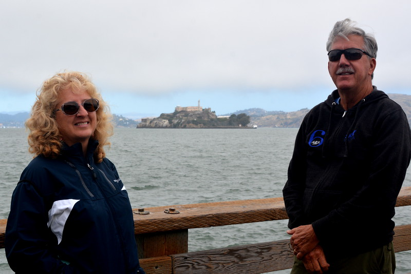 Lesley and Steve at Pier 39 with Alcatraz in the background