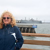 Lesley at Pier 39 with the Jeremiah O'Brian in the background, the last of the Liberty ships