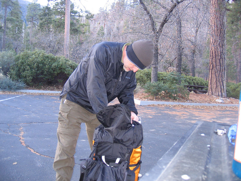 Packing up at the trailhead