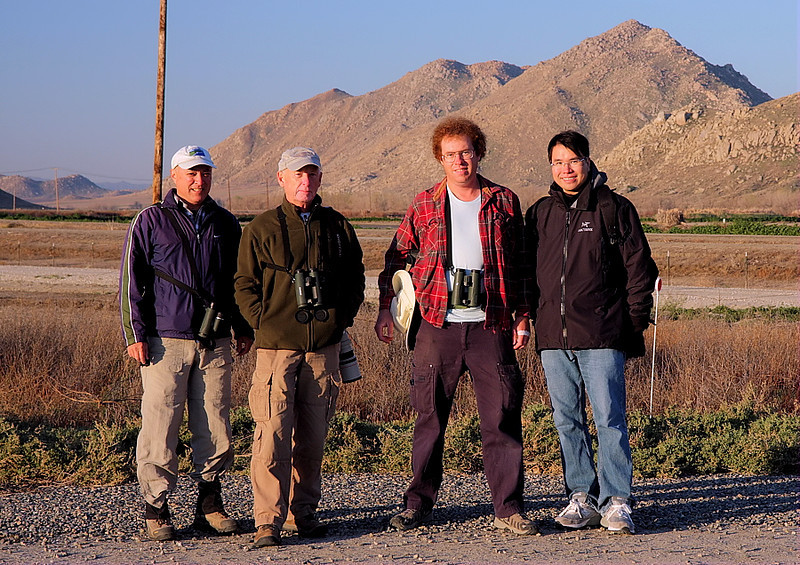 Birders/bird photographers waiting -- in vain, as it turned out -- for the Gyrfalcon, March 10 2012 -- from right to left, Tin Man Lee, David Ellsworth , Tom Starcic, and yours truly.