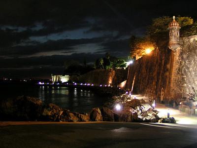 Outside the city wall where it meets El Morro