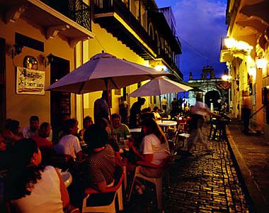 Cafe at dusk in Old San Juan