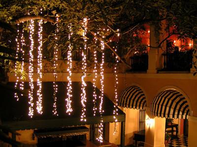 El Convento courtyard at night