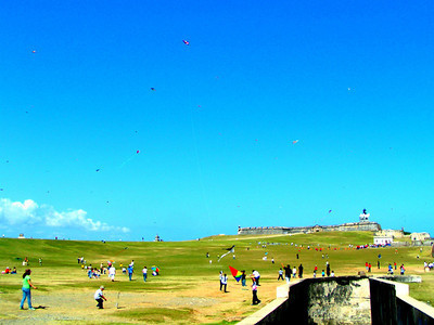 the greenway in front of El morro whuch was popular with the locals