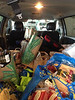 The Clif van after the Whole Foods run to New Orleans.  They spent $3000 on groceries to feed a crew of 40, breakfast, lunch, and dinner.