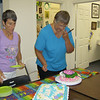 Donna and I cutting the cakes.  Both were yummy!