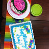 The two birthday cakes.