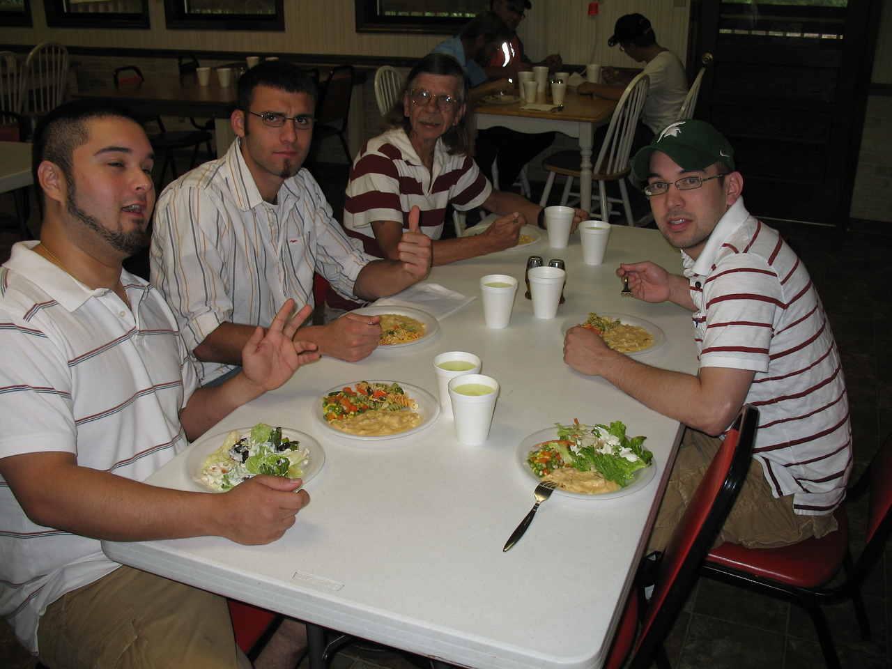 Jay Burda, Sean Turner, Patrick Burda, and Greg Burda Chowin Down