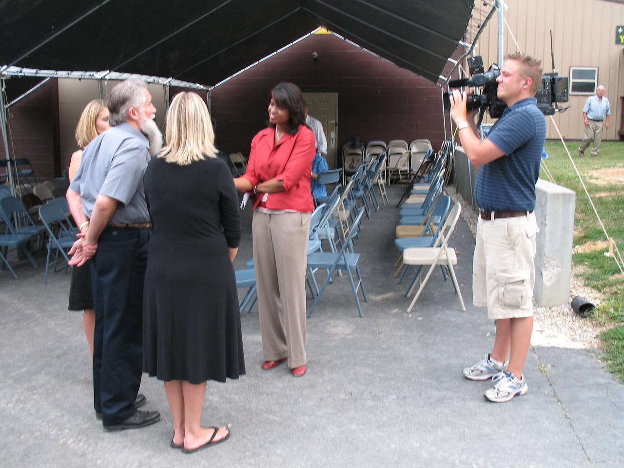 Jerry, Becky and Jessica being interviewed for TV News