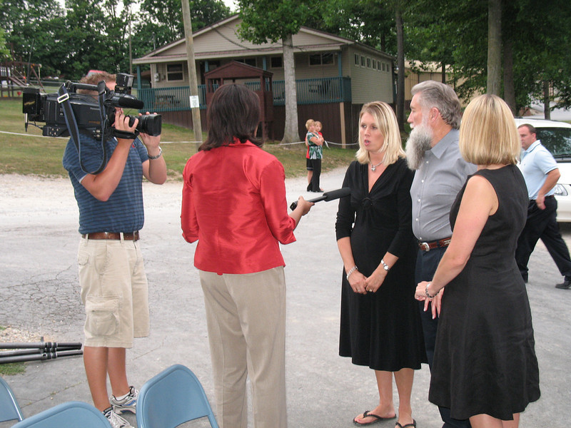 Jerry, Becky and Jessica being interviewed for TV News.