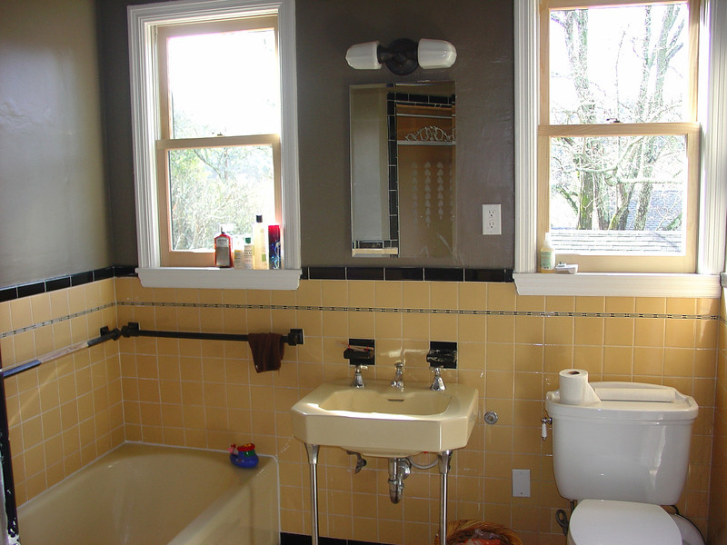 This bathroom posed a challenge because there was no sheetrock behind the wall tile.